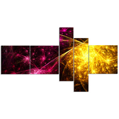 Designart Yellow Pink Colorful Fireworks Multipanel Abstract Canvas Art Print - 5 Panels