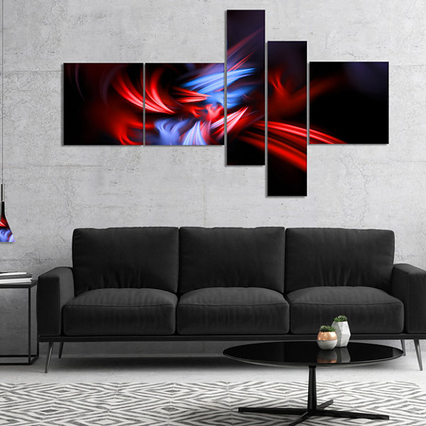 Designart Fractal Red Connected Stripes MultipanelAbstract Canvas Art Print - 4 Panels