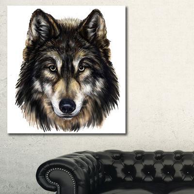 Designart Wolf Head Animal Art On Canvas