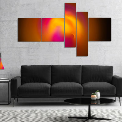Designart Yellow Pink Misty Sphere On Black Multipanel Abstract Canvas Art Print - 5 Panels