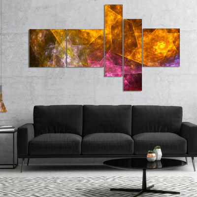 Designart Yellow Pink Rotating Polyhedron Multipanel Abstract Canvas Art Print - 4 Panels