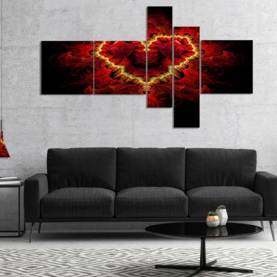 Designart Fractal Red Heart Texture Multipanel Abstract Wall Art Canvas - 5 Panels