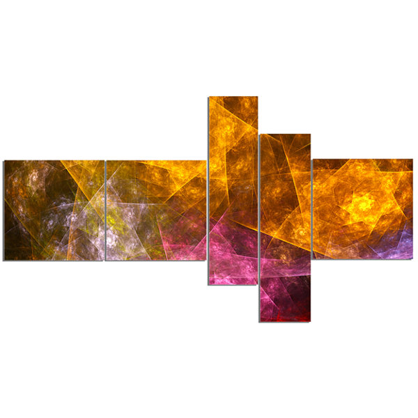 Designart Yellow Pink Rotating Polyhedron Multipanel Abstract Canvas Art Print - 5 Panels