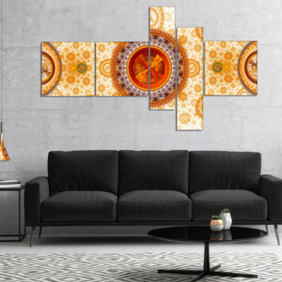 Designart Yellow Psychedelic Relaxing Art Multipanel Abstract Canvas Art Print - 4 Panels