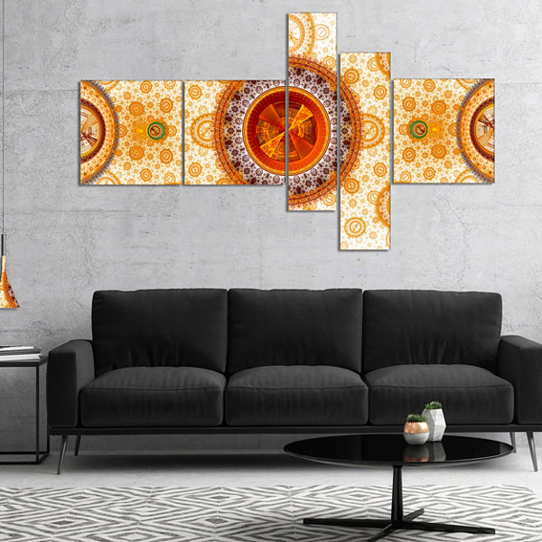 Designart Yellow Psychedelic Relaxing Art Multipanel Abstract Canvas Art Print - 5 Panels