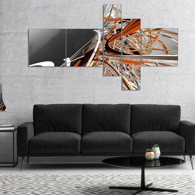 Designart Fractal Red N White Connected Stripes Multipanel Canvas Art Print - 5 Panels