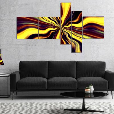 Designart Yellow Purple Black Fantasy Multipanel Abstract Canvas Art Print - 5 Panels