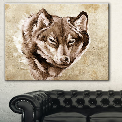 Designart Wolf Head Tattoo Sketch Abstract Print On Canvas - 3 Panels