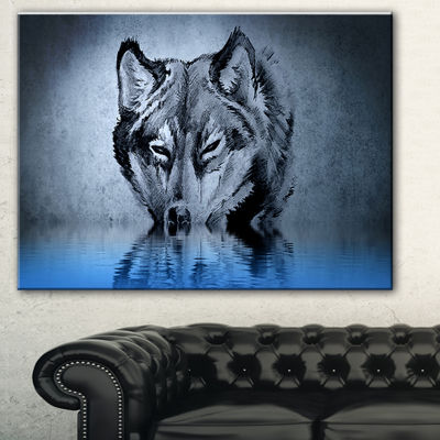 Designart Wolf Head With Water Reflections TattooAbstract Print On Canvas