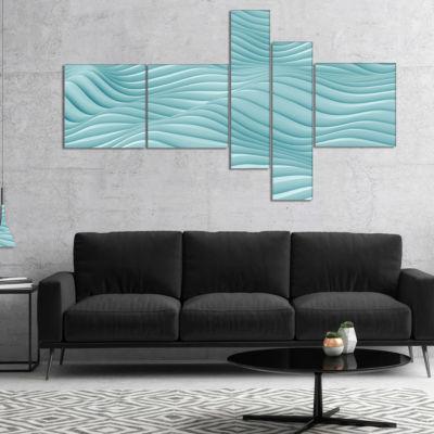 Designart Fractal Rippled Blue 3D Waves MultipanelAbstract Canvas Art Print - 5 Panels