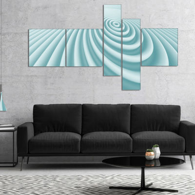 Designart Fractal Rounded Blue 3D Waves MultipanelAbstract Canvas Art Print - 5 Panels