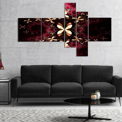 Designart Yellow Red Fractal Flower Pattern Multipanel Abstract Canvas Art Print - 4 Panels