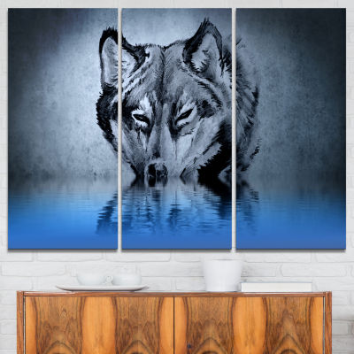 Designart Wolf Head With Water Reflections TattooAbstract Print On Canvas - 3 Panels