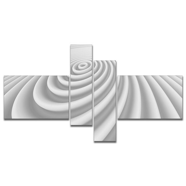 Designart Fractal Rounded White 3D Waves Multipanel Abstract Canvas Art Print - 4 Panels