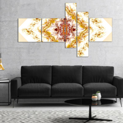 Designart Yellow Rhombus Fractal Design MultipanelAbstract Wall Art Canvas - 5 Panels