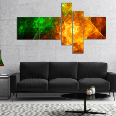 Designart Yellow Rotating Polyhedron Multipanel Abstract Canvas Art Print - 4 Panels