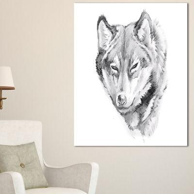 Designart Wolf Tattoo Art Animal Canvas Art Print-3 Panels