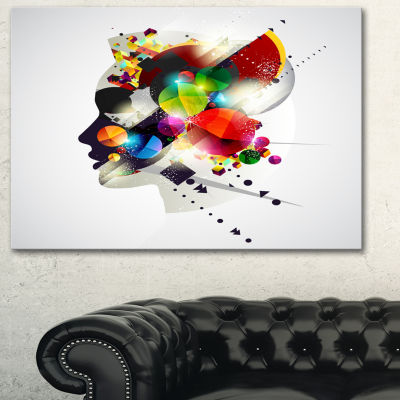 Designart Woman Abstract Profile Abstract Canvas Artwork