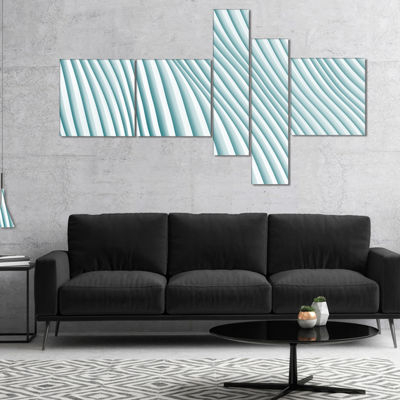 Designart Fractal Small Blue 3D Waves Multipanel Abstract Canvas Art Print - 4 Panels