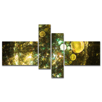 Designart Yellow Spherical Planet Bubbles Multipanel Abstract Canvas Art Print - 4 Panels