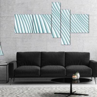 Designart Fractal Small Blue 3D Waves Multipanel Abstract Canvas Art Print - 5 Panels