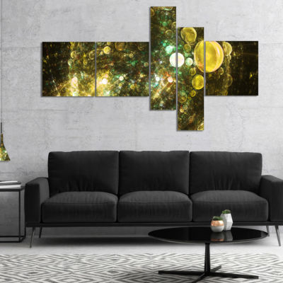 Designart Yellow Spherical Planet Bubbles Multipanel Abstract Canvas Art Print - 5 Panels