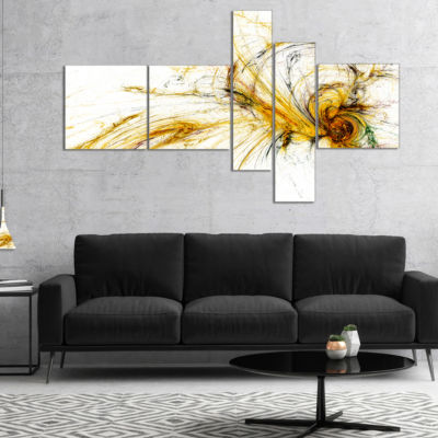 Designart Yellow Spiral Galaxy Multipanel AbstractCanvaS Art Print - 4 Panels