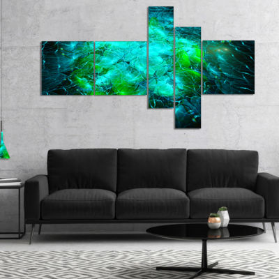 Designart Fractal Smoke Texture Green Multipanel Abstract Canvas Art Print - 5 Panels