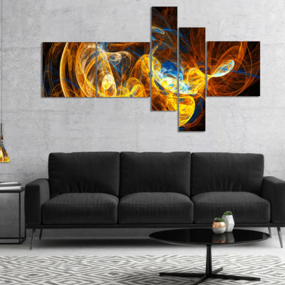 Designart Fractal Smoke Texture Orange MultipanelAbstract Canvas Art Print - 4 Panels