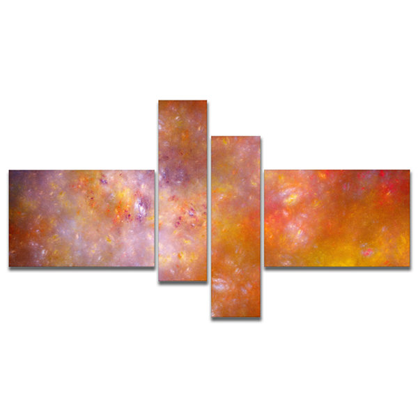Designart Yellow Starry Fractal Sky Multipanel Abstract Canvas Art Print - 4 Panels