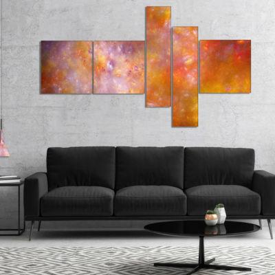 Designart Yellow Starry Fractal Sky Multipanel Abstract Canvas Art Print - 5 Panels