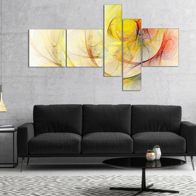 Designart Yellow Storm Sky Multipanel Abstract Canvas Art Print - 5 Panels