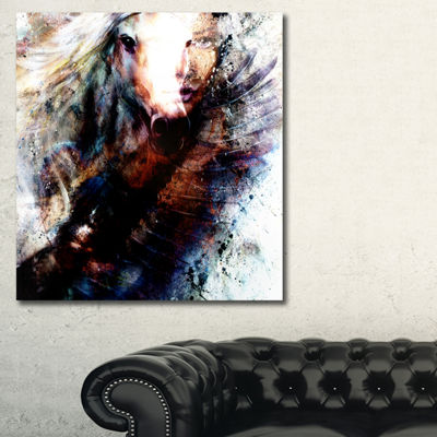 Designart Woman And Horse With Flying Eagle Collage Canvas Art Print - 3 Panels