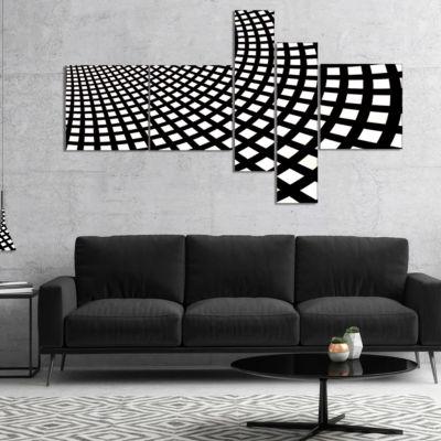 Designart Fractal Square Pixel Mosaic IllustrationMultipanel Abstract Wall Art Canvas - 5 Panels