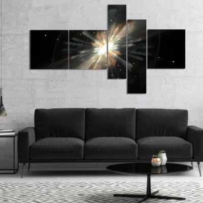 Designart Fractal Star Galaxy Multipanel AbstractCanvaS Art Print - 4 Panels