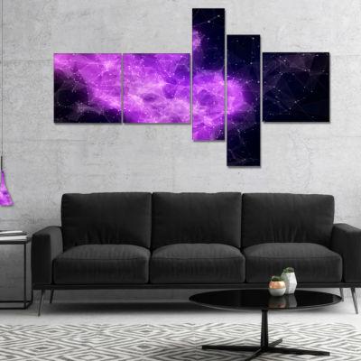 Designart Fractal Violet Nebula Multipanel Abstract Canvas Art Print - 5 Panels