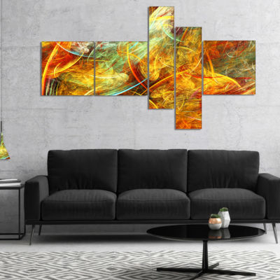 Designart Yellow Swirling Clouds Multipanel Abstract Canvas Art Print - 5 Panels