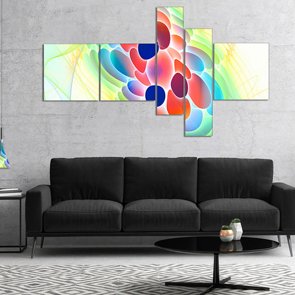 Designart Fractal Virus Under Microscope Multipanel Abstract Wall Art Canvas - 5 Panels
