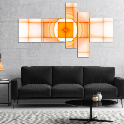 Designart Yellow Thermal Infrared Visor MultipanelAbstract Canvas Art Print - 5 Panels