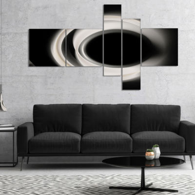 Designart Fractal White On Black Background Multipanel Abstract Wall Art Canvas - 4 Panels