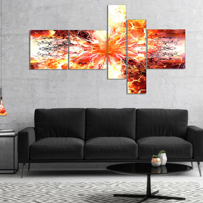 Designart Yellow Tree Pattern Mandala Multipanel Abstract Art On Canvas - 4 Panels