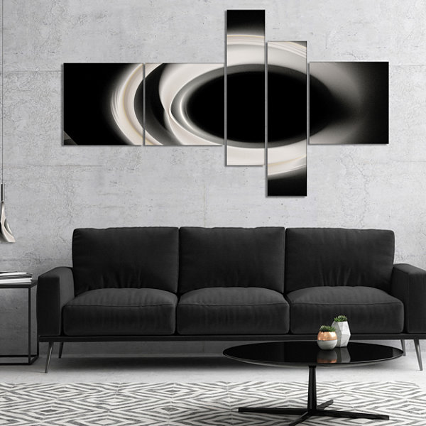 Designart Fractal White On Black Background Multipanel Abstract Wall Art Canvas - 5 Panels