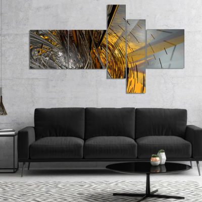 Designart Fractal Yellow Connected Stripes Multipanel Abstract Canvas Art Print - 5 Panels