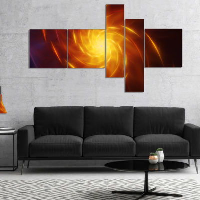 Designart Yellow Whirlpool Fractal Spirals Multipanel Abstract Art On Canvas - 5 Panels