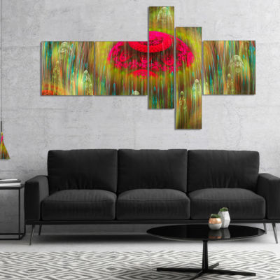 Designart Yellow World Of Infinite Universe Multipanel Abstract Canvas Art Print - 4 Panels