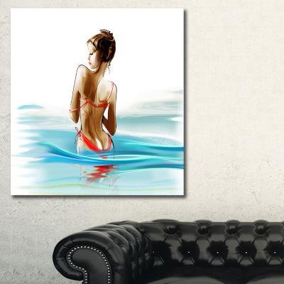 Designart Woman In Bikini Sensual Canvas Art Print