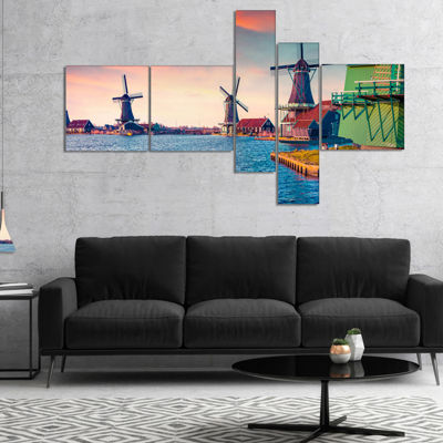 Designart Zaandam Mills On Water Channel Multipanel Landscape Canvas Art Print - 5 Panels