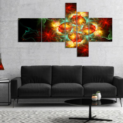 Designart Fractal Yellow N Red Flower MultiplanelFloral Art Canvas Print - 5 Panels