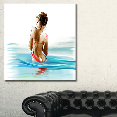 Designart Woman In Bikini Sensual Canvas Art Print- 3 Panels
