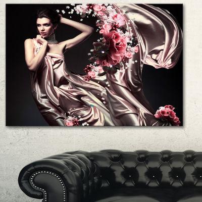 Designart Woman In Fabric And Flowers Portrait Canvas Art Print